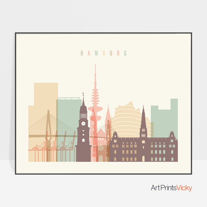 Hamburg wall art pastel cream landscape