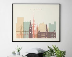 Hamburg wall art pastel cream landscape second
