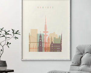 Hamburg art print skyline pastel cream second