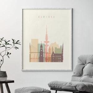 Hamburg art print skyline pastel cream second
