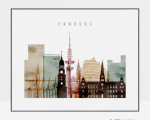 Hamburg skyline poster watercolor 1