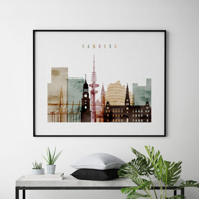 Hamburg skyline poster watercolor 2 landscape second