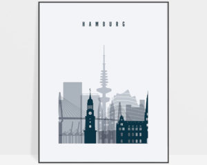 Hamburg skyline poster grey blue