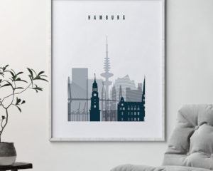 Hamburg skyline poster grey blue second