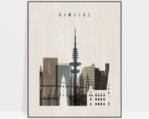 Hamburg skyline print distressed 2