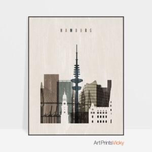 Hamburg skyline print distressed 2