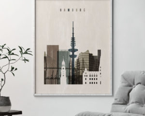 Hamburg skyline print distressed 2 second