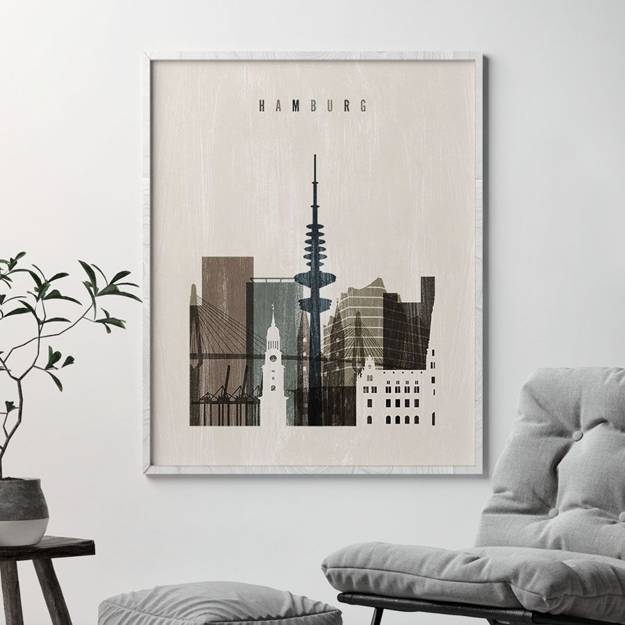 Hamburg skyline print distressed 2 second