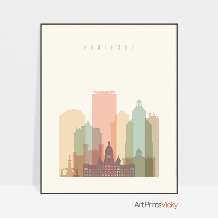 Hartford art print skyline pastel cream
