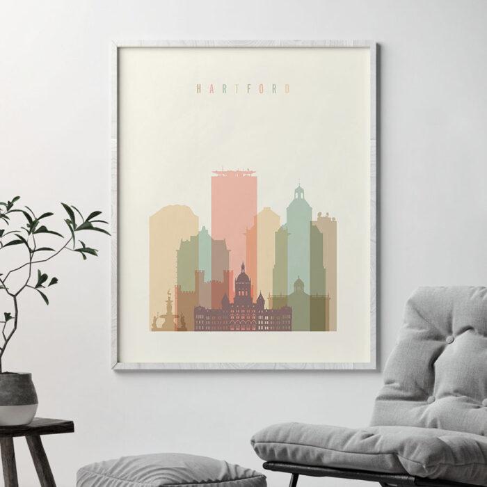 Hartford art print skyline pastel cream second