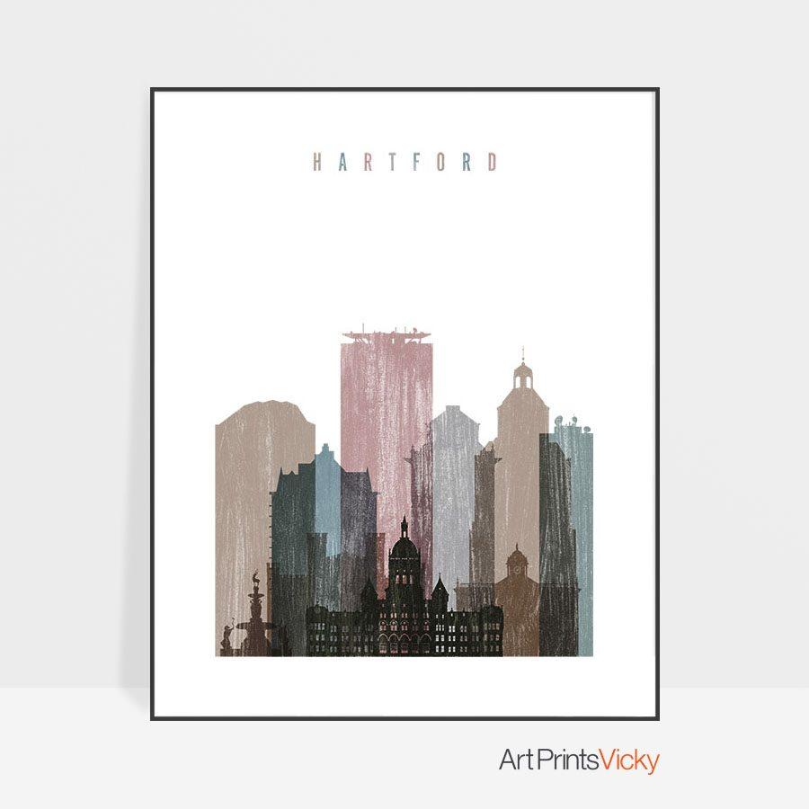 Hartford skyline poster distressed 1
