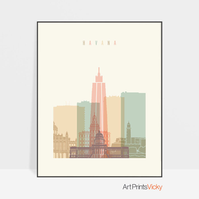 Havana art print skyline pastel cream