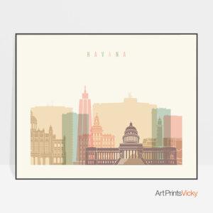 Havana poster skyline pastel cream landscape