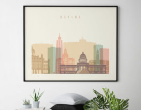 Havana poster skyline pastel cream landscape second