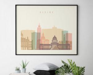 Havana poster skyline pastel cream landscape second
