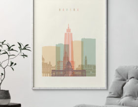 Havana art print skyline pastel cream second
