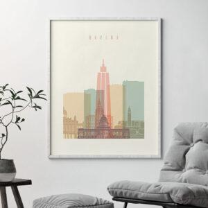 Havana art print skyline pastel cream second