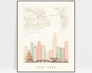 Hong Kong map print poster pastel cream