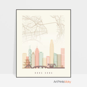 Hong Kong map print poster pastel cream