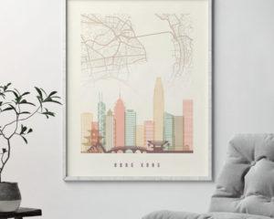 Hong Kong map print poster pastel cream second