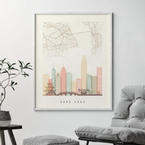 Hong Kong map print poster pastel cream second