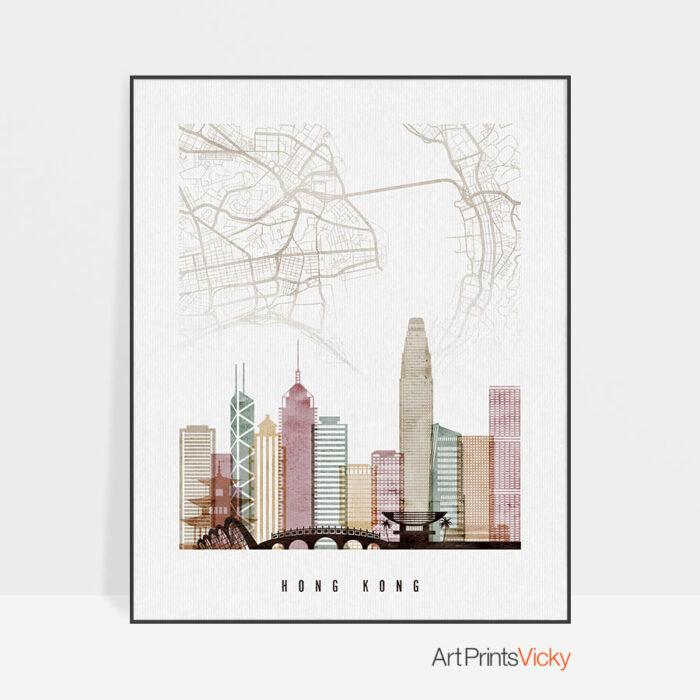 Hong Kong map print skyline poster watercolor 1