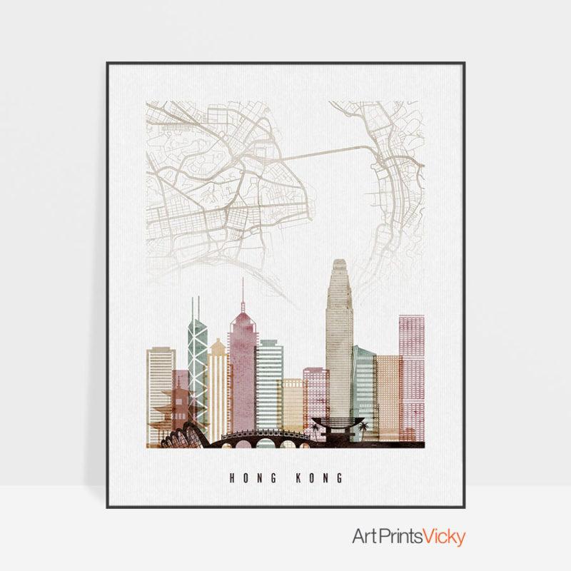 Hong Kong Map Print Skyline Watercolor 1