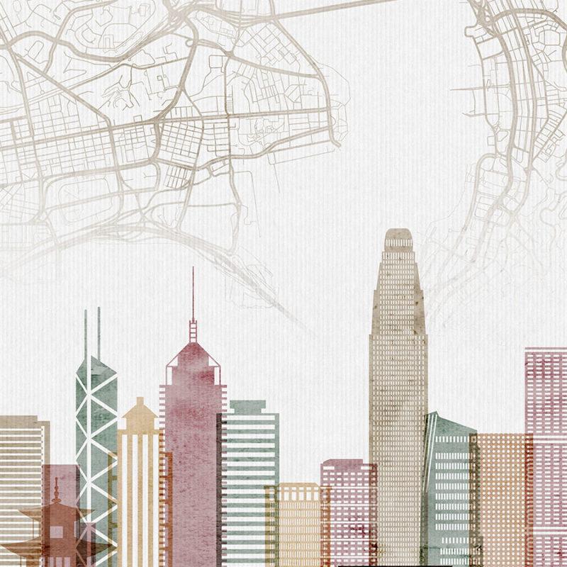 Hong Kong map print skyline poster watercolor 1 detail