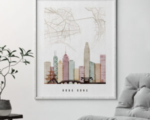 Hong Kong map print skyline poster watercolor 1 second