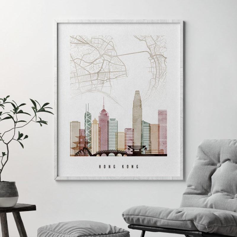 Hong Kong map print skyline poster watercolor 1 second