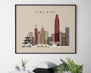 Hong Kong print landscape earth tones 2 second
