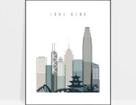 Hong Kong art print skyline earth tones 4