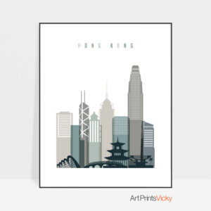 Hong Kong art print skyline earth tones 4