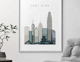 Hong Kong art print skyline earth tones 4 second