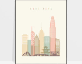 Hong Kong art print skyline pastel cream