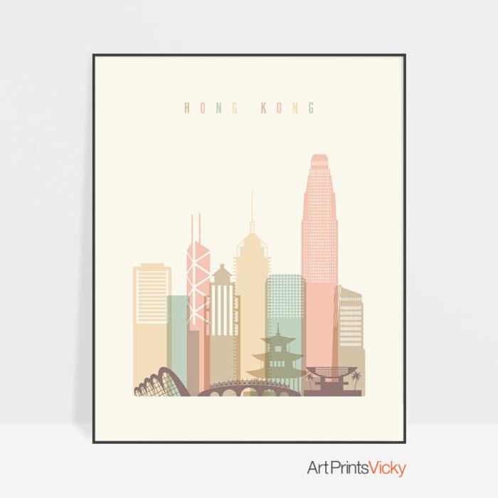 Hong Kong art print skyline pastel cream