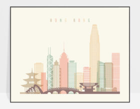Hong Kong travel poster pastel cream landscape