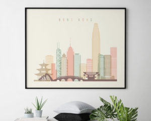Hong Kong travel poster pastel cream landscape second