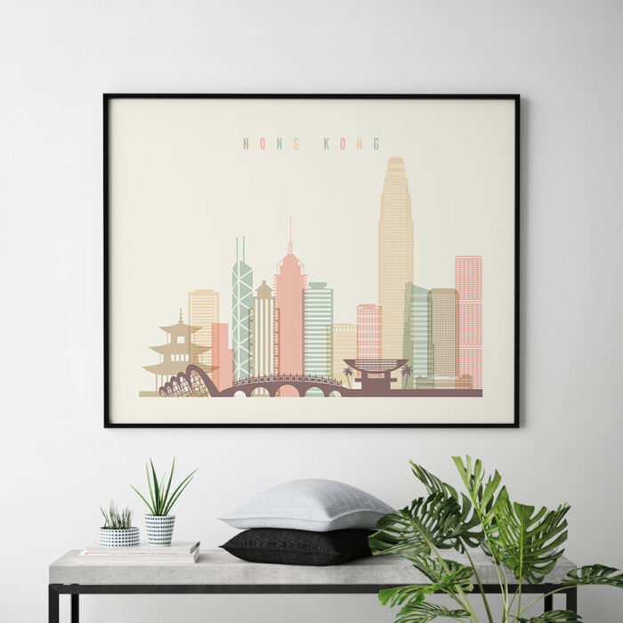 Hong Kong travel poster pastel cream landscape second