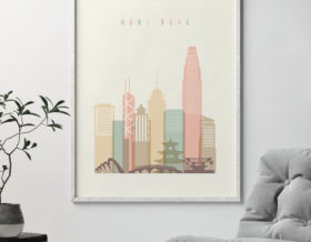 Hong Kong art print skyline pastel cream second