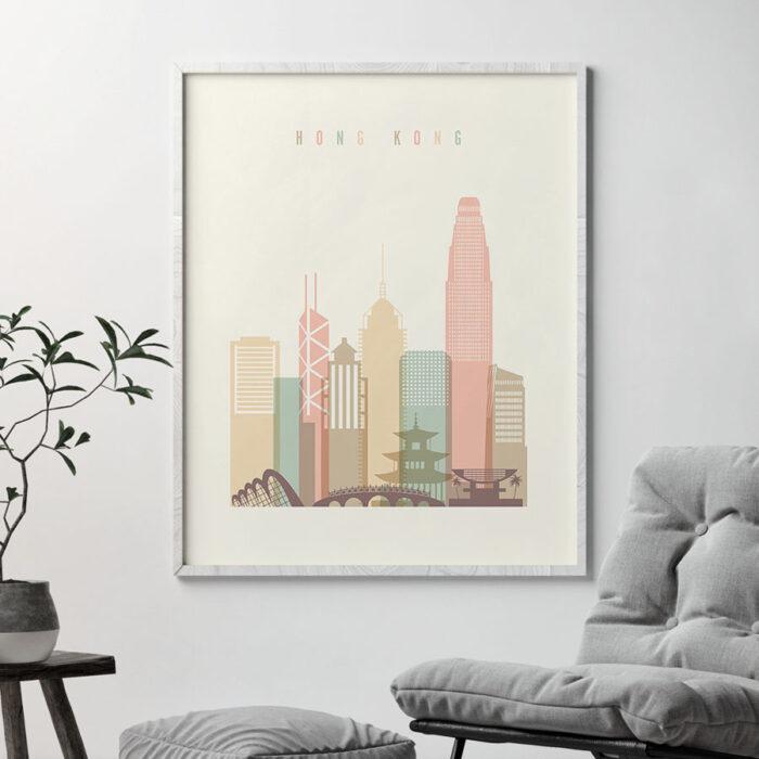 Hong Kong art print skyline pastel cream second
