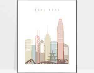Hong Kong wall art pastel white