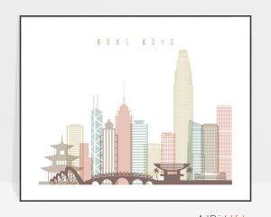 Hong Kong poster skyline pastel white landscape