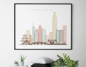 Hong Kong poster skyline pastel white landscape second