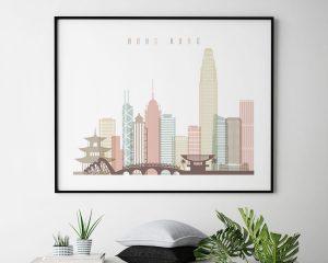 Hong Kong poster skyline pastel white landscape second
