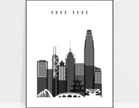 Hong Kong black and white skyline poster