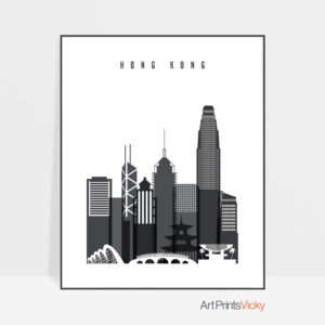 Hong Kong black and white skyline poster