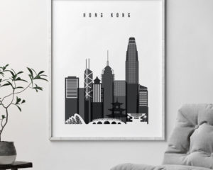 Hong Kong black and white skyline poster second