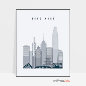 Hong Kong skyline poster grey blue