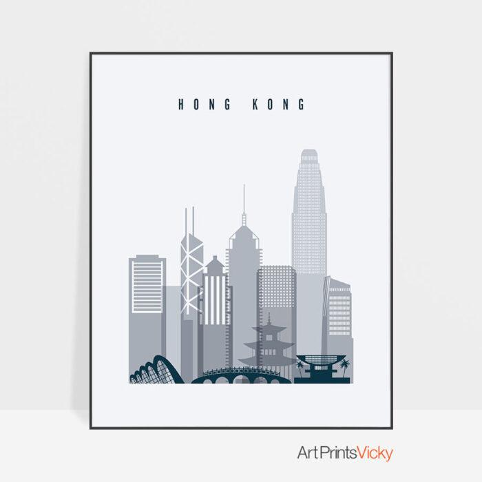 Hong Kong skyline poster grey blue